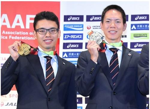 競歩山西選手と鈴木選手世界選手権金メダル