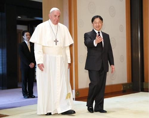 天皇がローマ教皇をお出迎え