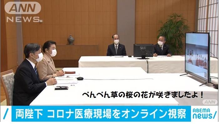 オンラインで医療従事者と話す天皇皇后雅子さま