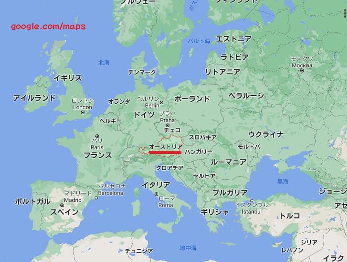 オーストリアヨーロッパ地図