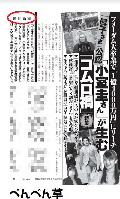 週刊新潮小室圭フォーダム大学卒業で1億4千万円に王手