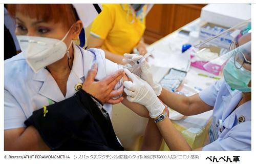 中国製ワクチン接種緒タイ医療従事者600人超が感染